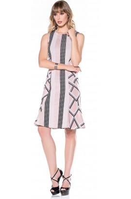 Vestido Tricot Dupla Estampa