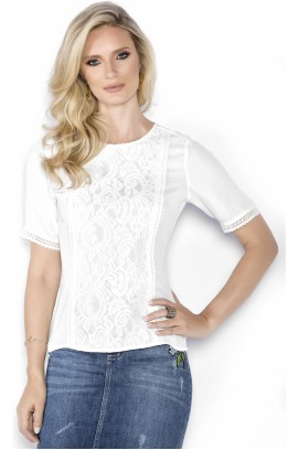 T-shirt com Renda e Guipire